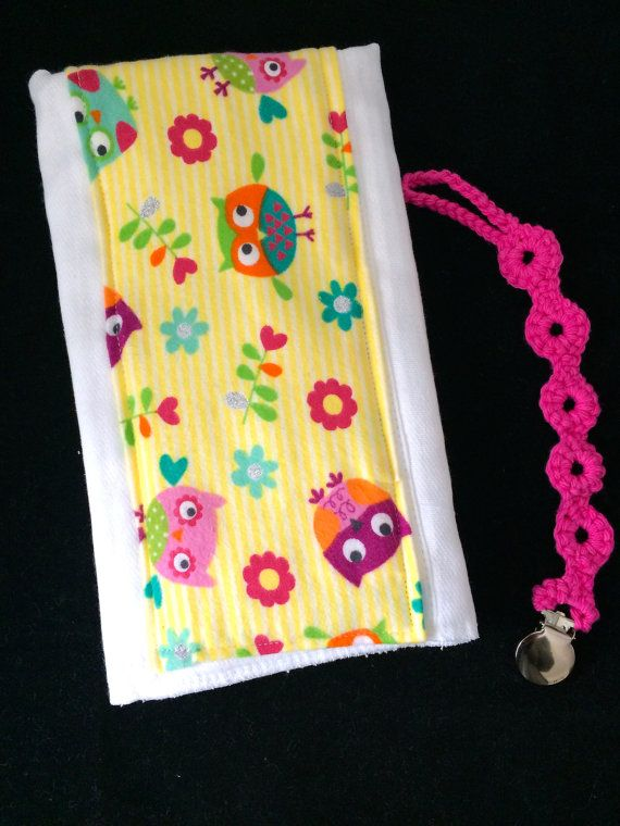 Girls burp cloth and pacifier gift set-fancy burp cloth-crocheted pacifier clip