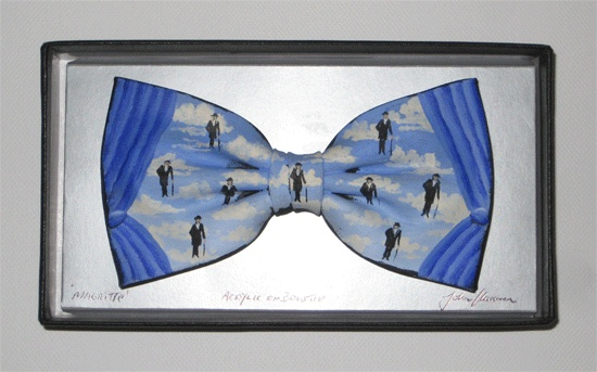 Hand painted bowtie after Magritte by artist John Kirwan - The Keeling Gallery