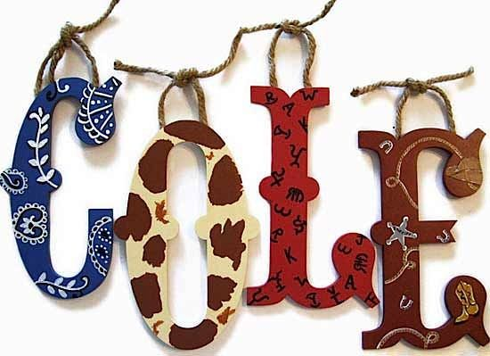 Wall letters kids cowboy theme : cowboy room playroom kids bedroom hand painted