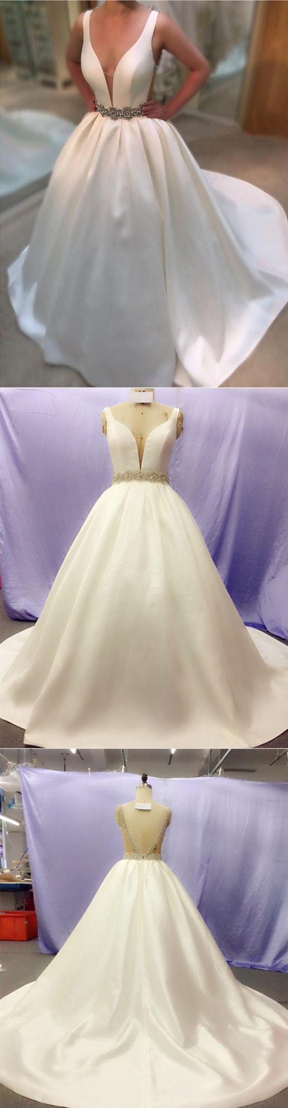 Deep V Neck White Satin Ball Gown Wedding Dresses Open