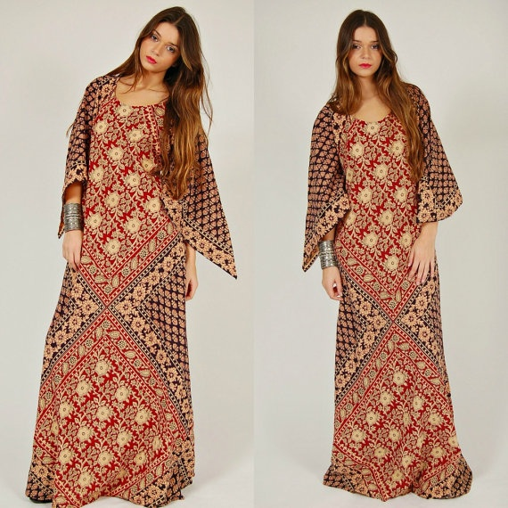 Vintage 70s CAFTAN Ethnic FESTIVAL Hippie Maxi Dress O/S by LotusvintageNY