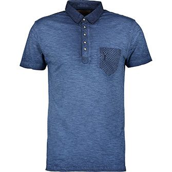 Pearly King Blue Washed Tile Print Polo Shirt