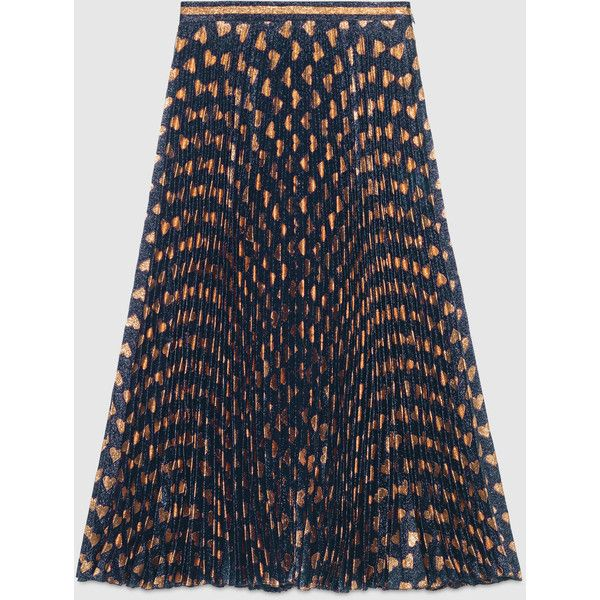 Gucci Heart Lurex Plissé Skirt (€1.415) ❤ liked on Polyvore featuring skirts, ready to wear, women, gucci skirt, patterned skirt, heart skirt, gucci and embellished skirt