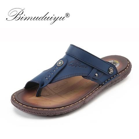 0fbbf46d7 Leather High Quality Sandals Men s Casual Shoes From Touchy Style Outfit  Accessories ( Blue   8 )