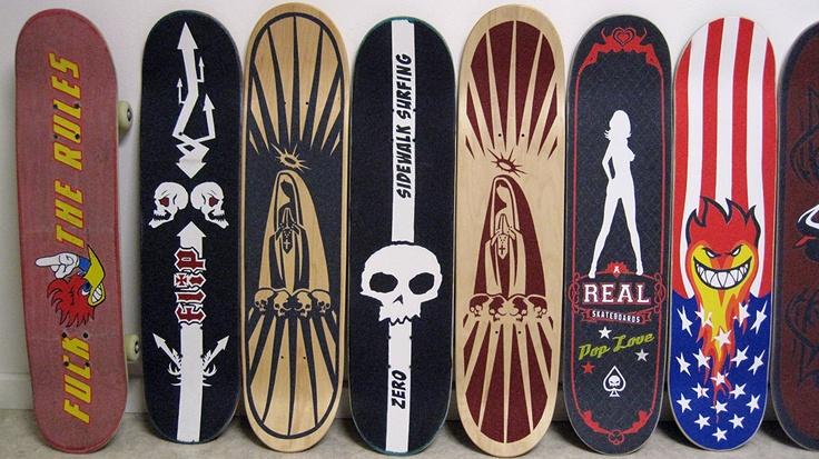 Grip tape art 2012 - Fuck The Rules, Two skulls, Virgin, Zero - Sidewalk surfing, Virgin, PoP Love, Spitfire on fire.