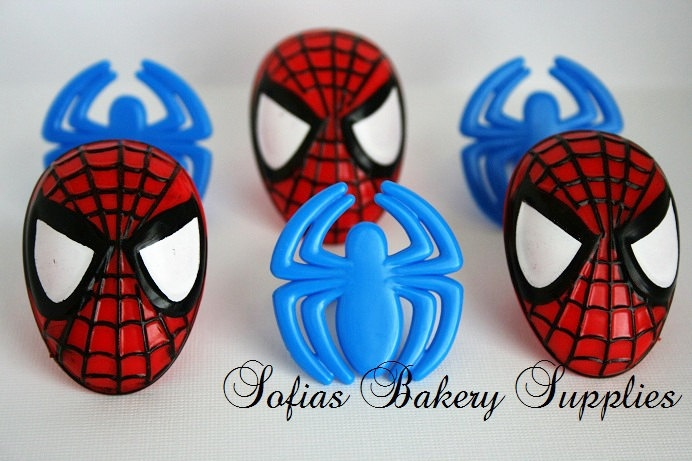 Spiderman decorations rings 12 toppers. $3.99, via Etsy.