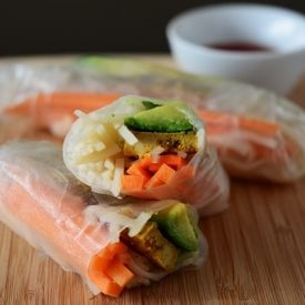 Rice Paper Rolls Filled With Curry Mango Tofu Avocado And Rice Noodles