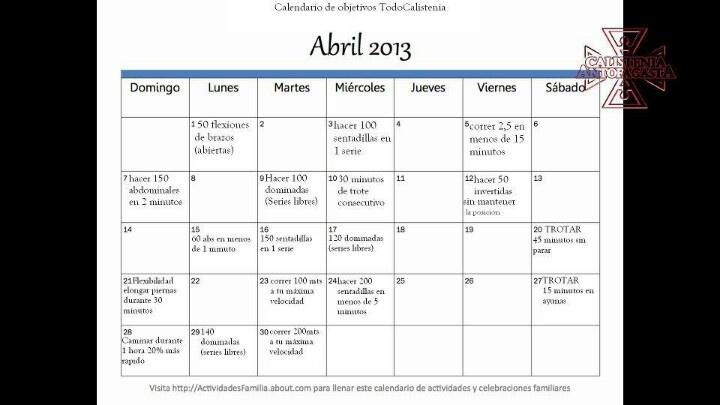 Rutina de abril