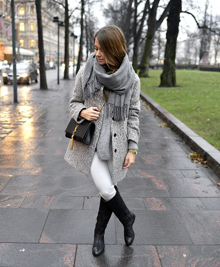Zara grey animal print coat, white jeans Mango, grey big scarf