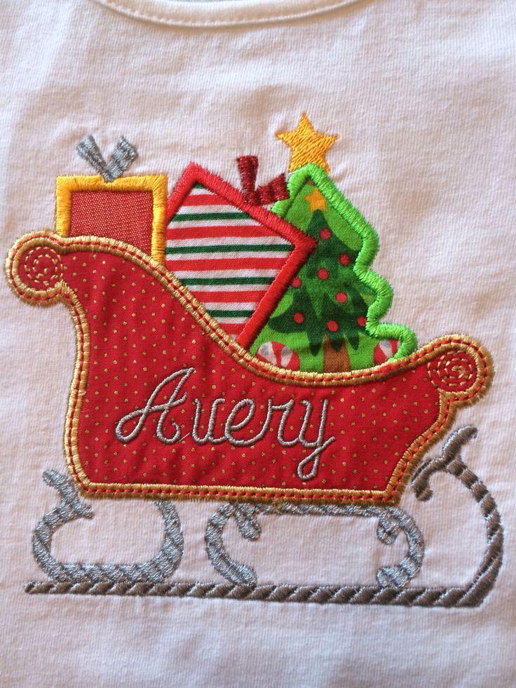 Christmas sleigh machine applique