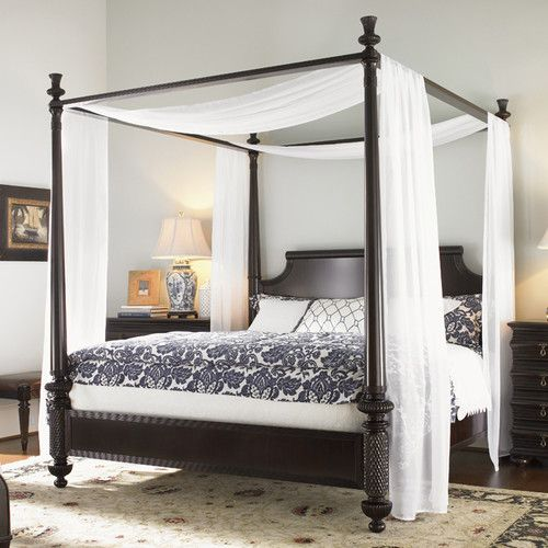 features removable canopy frame posts break for low post option - Canopied Beds