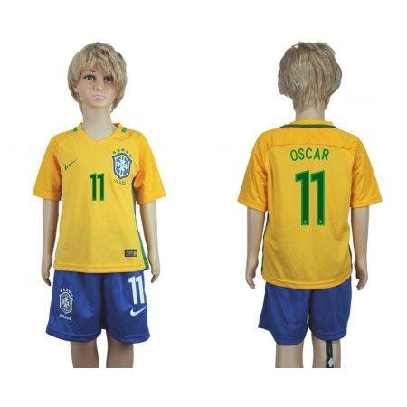Brasilien Trøje Børn 2016 #Oscar dos Santos 11 Hjemmebanetrøje Kort ærmer.199,62KR.shirtshopservice@gmail.com