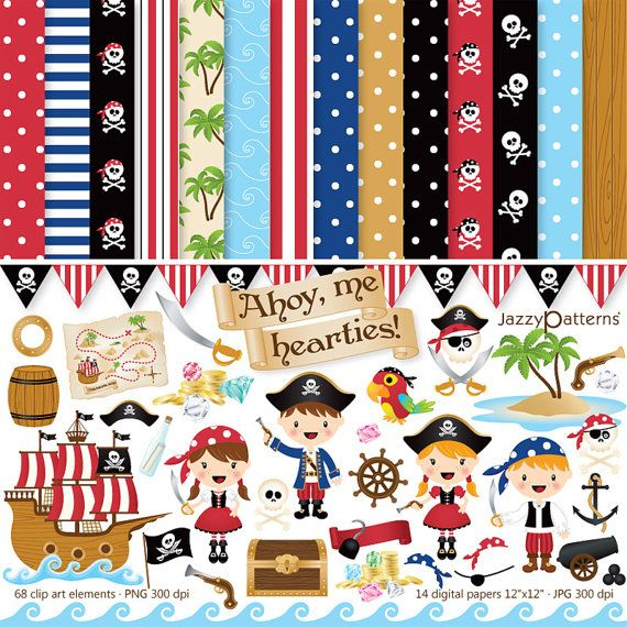 Pirate clipart and digital paper pack Ahoy Me by JazzyPatterns