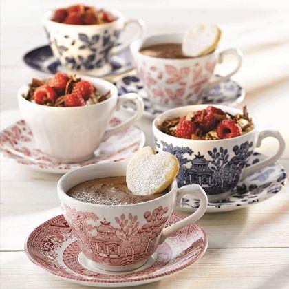 Churchill Vintage Prints Tea Cups #Desserts #Chocolate Mousse