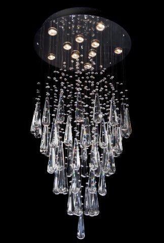 Lustre em aço inox com cabos de aço com pedras e pingentes exclusivos de cristal em formato de gota.