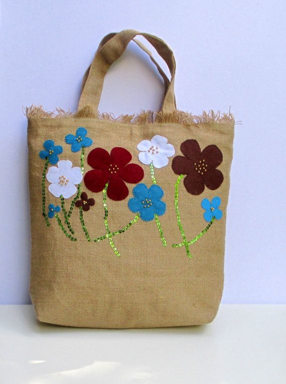 Summer jute tote handmade with summer flowers unique by Apopsis, $70.00
