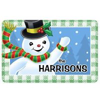 Personalized Waving Snowman Customized Printing Skid-Resistant Floor Mat With Polyester...