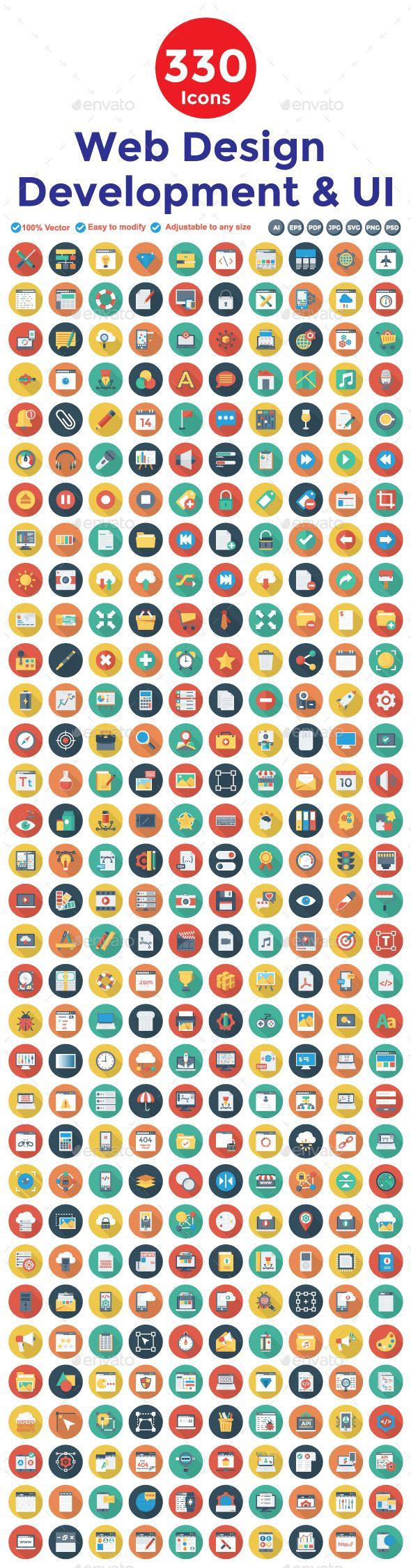 360 Flat Circle Shadow Web Design Developemnt & UI Icons
