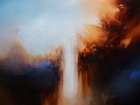Groot doek Abstract olieverfschilderij door SimonkennysPaintings
