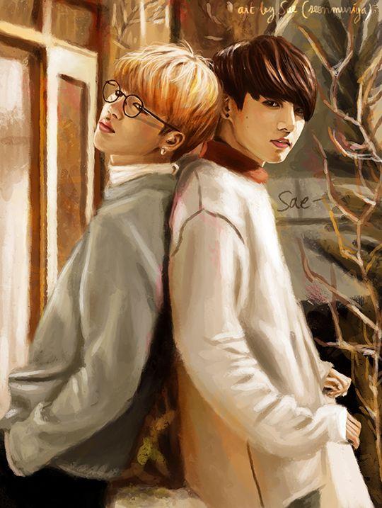 "seonmuriya: "" Jikook painting ♥ > twitter | facebook | deviantart | instagram """