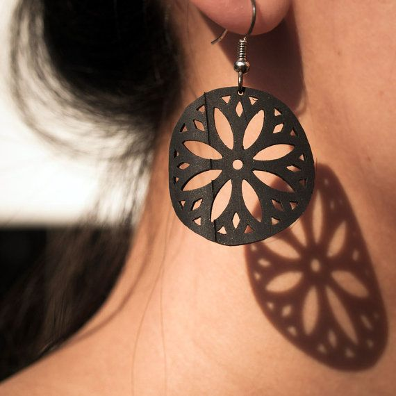Modern upcycled earrings Sterling Silver ear wires- recycled bike inner tubes! by pearlreef, $18.00