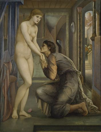 Pygmalion and the Image - The Soul Attains By Sir Edward Burne-Jones 1878 A full length figure of a nude woman stands in 3/4 view to the right, as a clothed man, kneeling before her, earnestly grabs her hands.  Fourth and last in the series.
