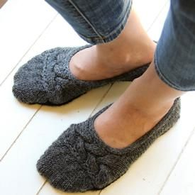 These cute and comfy house slippers are quick to knit! Knit in Wool of the Andes Superwash Bulky yarn. Pattern available at KnitPicks.com