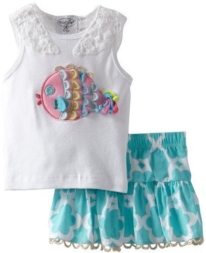Mud Pie Little Girls' Under The Sea Skirt Set, Multi, 4T  - Click image twice for more info - See a larger selection of little girl skirt sets at http://girlsdressgallery.com/product-category/skirt-sets/ - girls,toddler,little girls clothing, little girls fashion, little girls dress, little girls fashion, baby, gift ideas