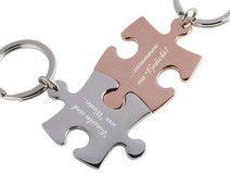 Partner-Schlüsselanhänger Gravur Puzzle si/rg
