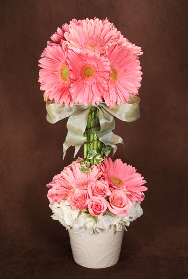 gerbera daisy topiary - Google Search/ will order gerbera daisy heads with smaller pink and white daisies. Also small white roses