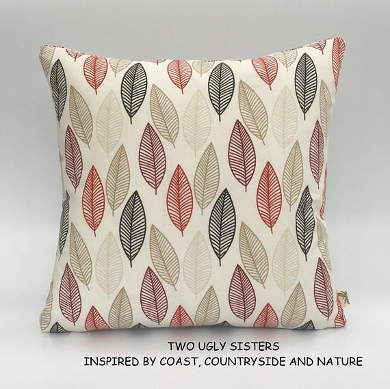 Leaf Print Cushion Cover Red Floral Pillow Black Leaf Cushion