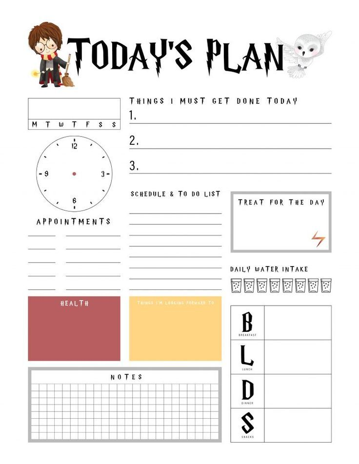 Harry Potter Free Printable Daily Planner Harry Potter Free Harry Potter Planner Harry Potter Printables