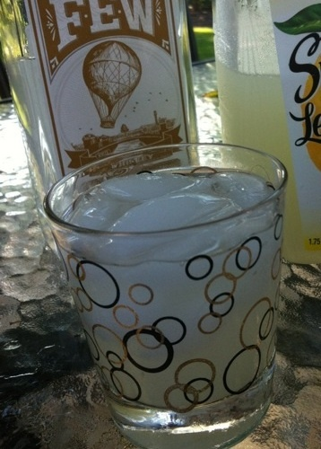 Few Spirits White Whiskey, Ginger Lemonade Vintage Lowball. Add ice to a lowball, 2 ounces of Few Spirits white whiskey, 1 ounce of Domaine de Canton Ginger Liqueur, Top off with lemonade