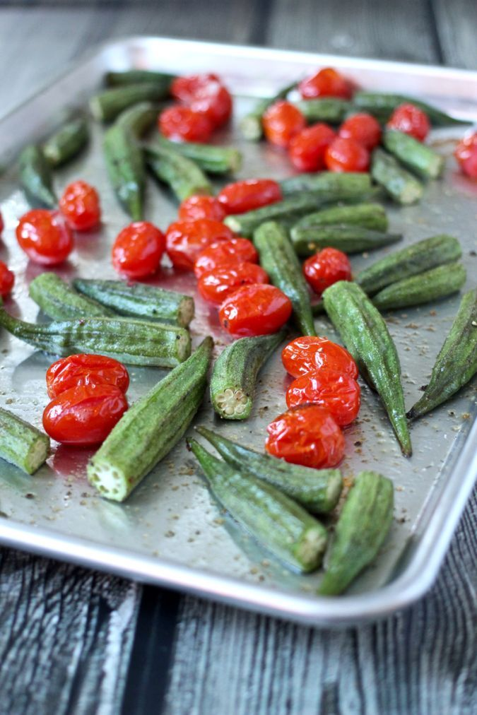 Whole roasted okra and tomatoes | FamilyFoodontheTable.com