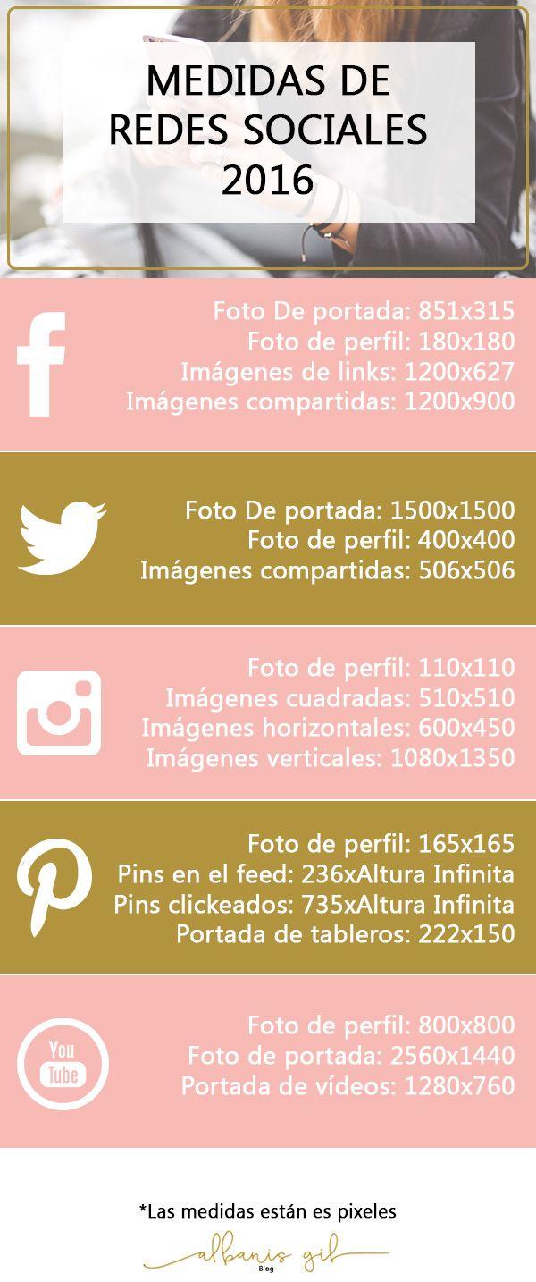 Guía de medidas de las imágenes de #redessociales #marketing