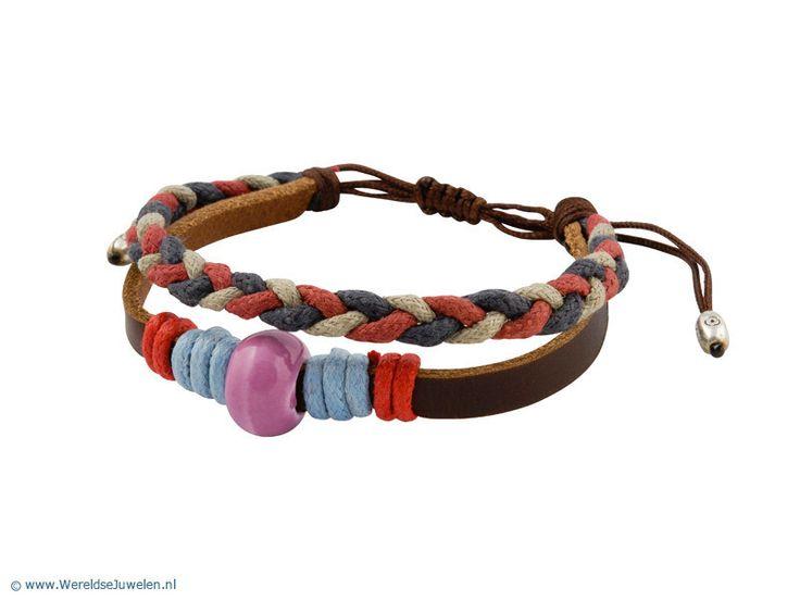 Leren Armband - Leren armband met touw en kraal uit Tibet