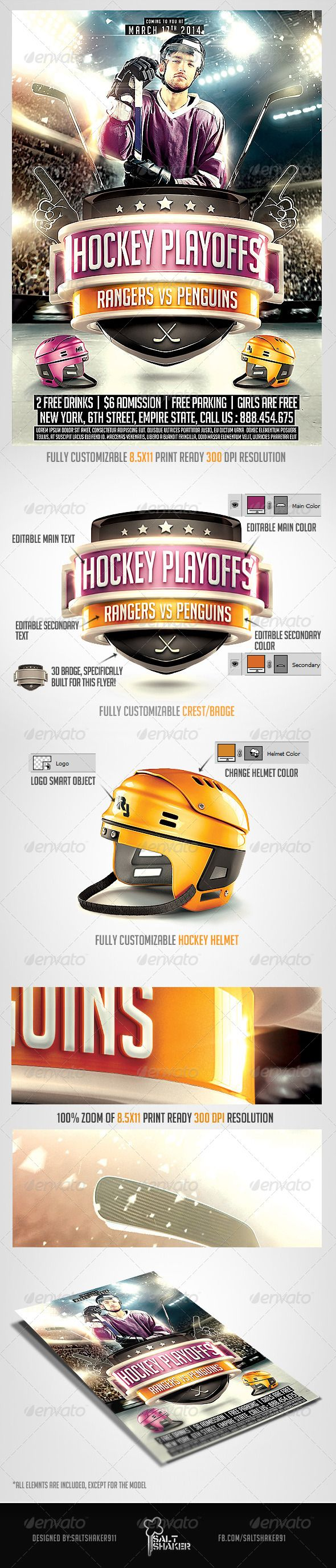 Hockey Playoffs Flyer template — Photoshop PSD #hockey player #helmet • Available here → https://graphicriver.net/item/hockey-playoffs-flyer-template/7167664?ref=pxcr
