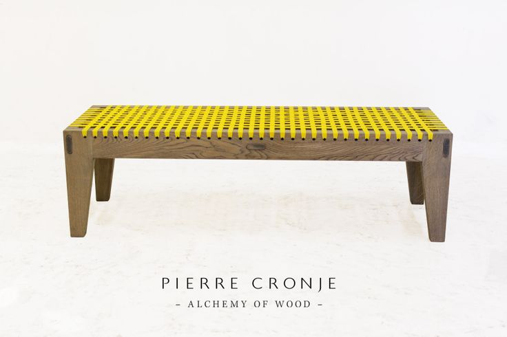 Pierre Cronje Loft Bench in French Oak with yellow ribbon, perfect for the World Design Capital 2014