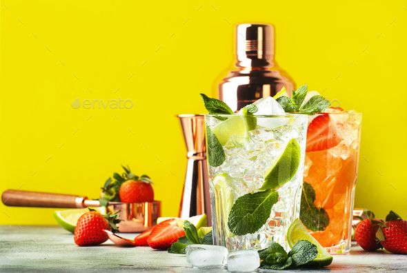 Mojito Cocktail Set With Lime Mint Strawberry And Ice In Glass On Yellow Background Mojito Cocktail Cocktail Set Mojito