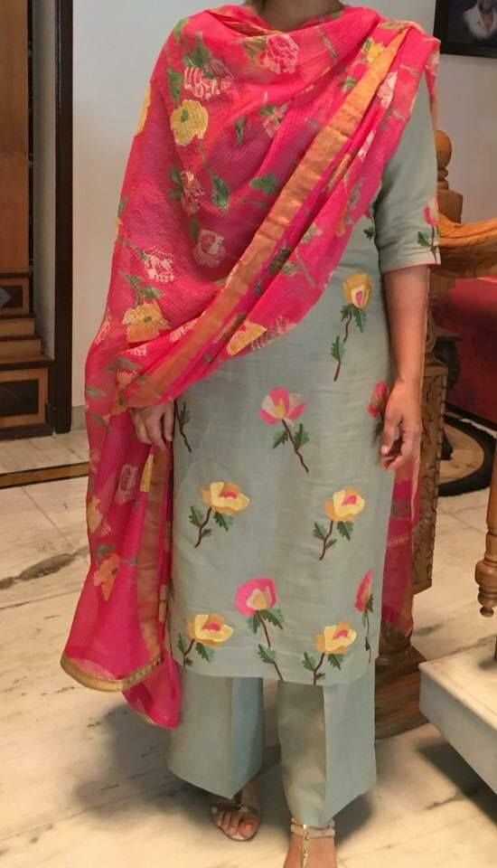 #StylishTrousersuit #TrendyTrouserSuitOnline #LatestTrousersuitSale #StylishTrousersuitonline  Maharani Designer Boutique  To buy it click on this link http://maharanidesigner.com/Anarkali-Dresses-Online/pajami-suits-online/ Rs-6800 Phulkari dupatta Machine work Fine Quality fabric. Fabric-Pure khadi For any more information contact on WhatsApp or call 8699101094 Website www.maharanidesigner.com Maharani Designer Boutique.