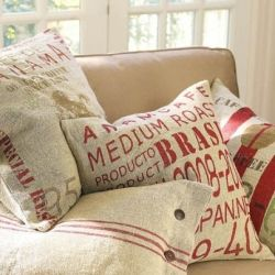 Using burlap and coffee sacks as upholstery is a gorgeous method of upcycling!