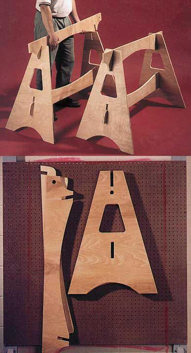 Knockdown Sawhorses Woodworking Plan, Workshop & Jigs Tool Bases & Stands Workshop & Jigs $2 Shop Plans #WoodworkingProjects