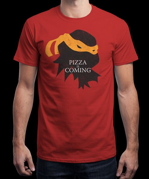 """Pizza is Coming"" is today's £8/€10/$12 tee for 24 hours only on www.Qwertee.com Pin this for a chance to win a FREE TEE this weekend. Follow us on pinterest.com/qwertee for a second! Thanks:)"