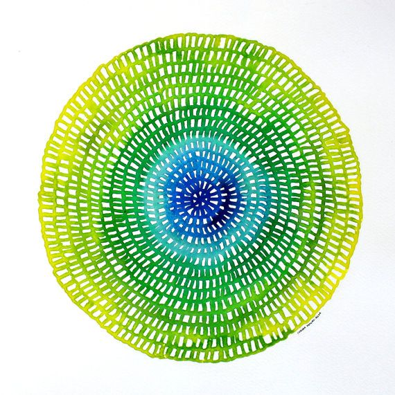 Crotchet Web Mandala No.54 (27cm diameter circle). Original contemporary watercolour paining by Chelsea H-A. www.ChelseaH-A.com