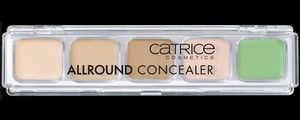 Catrice Allround Concealer  A whole palette of options to always look great. With this set of five shades, it's easy to even out small     skin irregularities (beige shades), magic away dark shadows under your eyes (pink shade) and cover up redness    (green shade). And application is super pleasant thanks to the creamy texture.    Include 5 shades ranging from light to medium, pink and green shade      6g