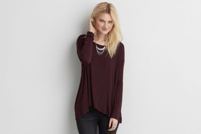 AEO Lace Back Jegging T-Shirt  by  American Eagle Outfitters | Transition your look through the changing seasons like a pro by mixing and matching a few essential layering pieces. Shop the AEO Lace Back Jegging T-Shirt  and check out more at AE.com.