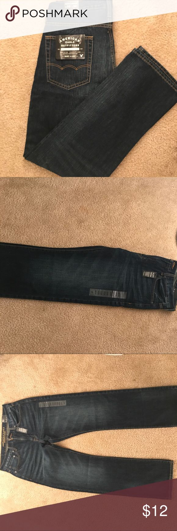 Men's American eagle jeans Brand new never worn men's American eagle original straight jeans! Still has tags and stickers! Dark colored denim with a worn washed look. American Eagle Outfitters Jeans Straight