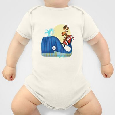 SANTA CLAUS LOVES WHALES Onesie by Chicca Besso - $20.00