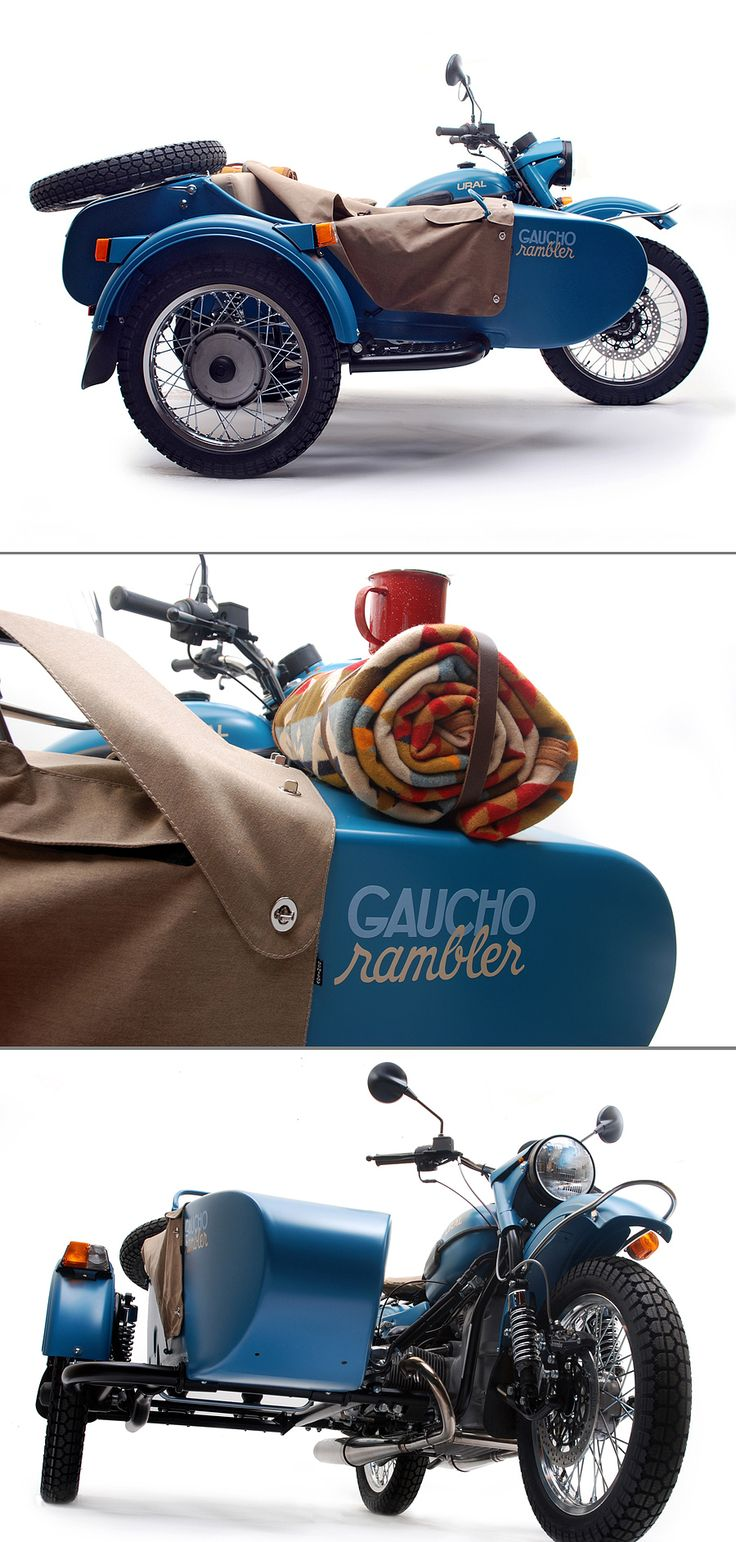 A splash of Pacific Blue paint. A blanket from Pendleton Woolen Mills. And an enamel camp kit with a coffee pot, mugs, plates and a frying pan.   Anyone else feel like a two-wheel-drive escape into the country with the new Gaucho from @Ural Motorcycles?