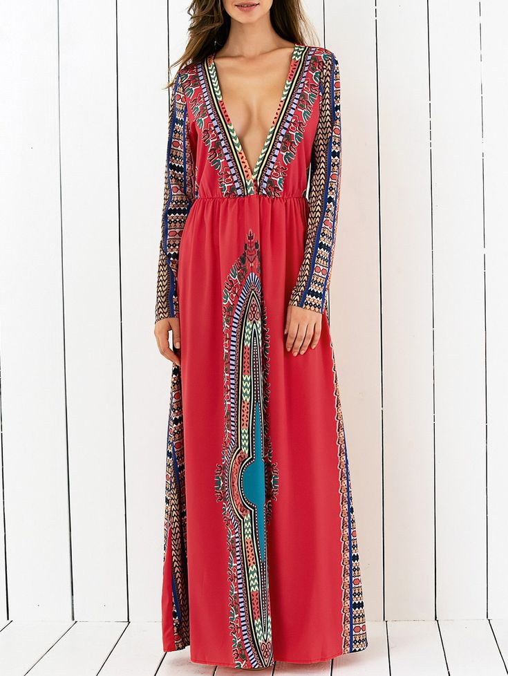Plunging Printed Long Sleeve Maxi Dress